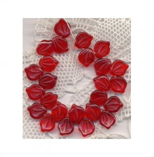Red Glass Leaves Beads Vintage Style