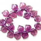 Purple Glass Leaves Beads Vintage Style