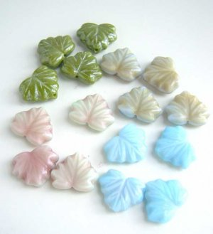Garden Mix Blue Mauve Green Raspberry Leaf Glass Beads