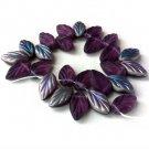 Deep Purple Amethyst Vitrail Matte Leaf Glass Beads