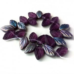 Deep Purple Amethyst Vitrail Matte Leaf Glass Beads