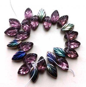 Deep Purple Amethyst Vitrail Leaf Glass Beads