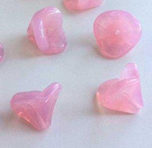 Pink Opal Czech 3 Petal Glass Trumpet Flower Beads