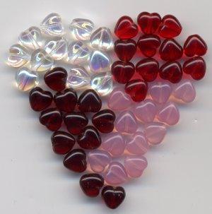 6mm Sweet Hearts Valentine Day Glass Czech Beads Mix 48 pcs