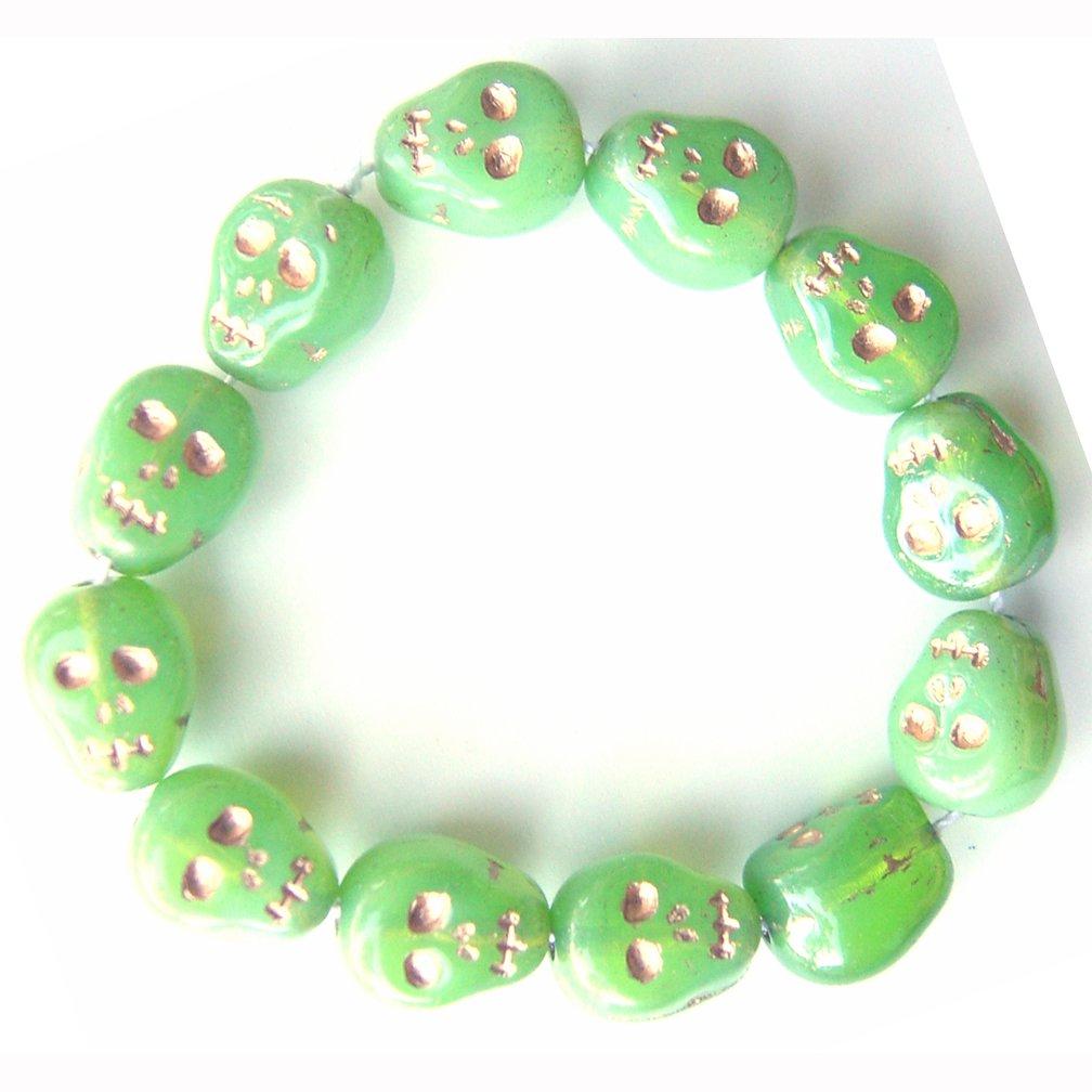 Neon Green Skull Beads Czech Glass Day of Dead