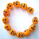 Neon Orange Skull Beads Czech Glass Day of Dead