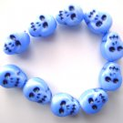 Neon Blue Skull Beads Czech Glass Day of Dead