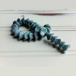 Seafoam Blue Green 3 Petal Glass Flower Beads