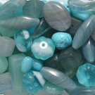 Southwest Turquoise Color Czech Pressed Shapes Mixed Glass Beads