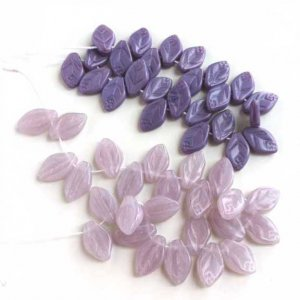 Lilac Opal and Lavender Opaque Glass Leaves Leaf Beads