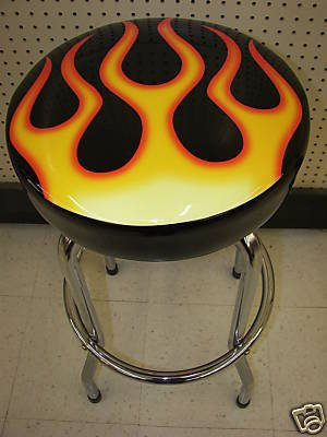 FLAME DESIGN BAR / SHOP / GARAGE COUNTER SWIVEL STOOL