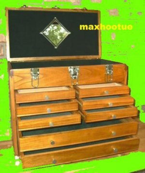 8 Drawer Machinist Wooden Tool Chest Wood Cabinet Box *