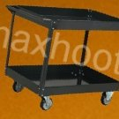STEEL SERVICE / UTILITY PUSH SHOP CART & 2 TRAYS BLACK