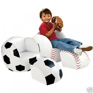 Kids Sports Soccer Ball Chair & Ottoman Set