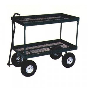2 TIER LEVEL MESH NURSERY TOOL YARD GARDEN CART WAGON