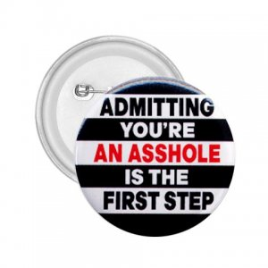 FUNNY Admitting you're an asshole 2.25 inch pinback button backpack pin 27002889
