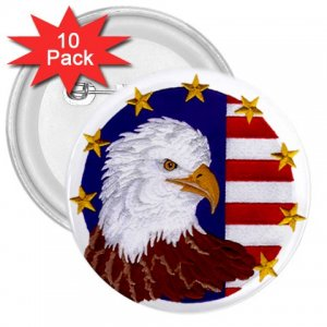 AMERICAN Flag Bald Eagle 10 pack of 3 inch pinback buttons backpack pins 27008588