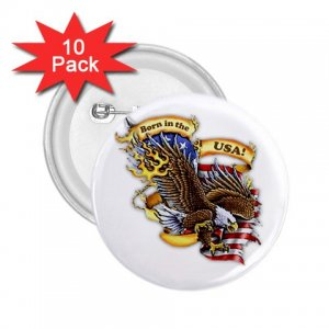 Eagle 10 pack of 2.25 inch pinback buttons BORN IN THE USA backpack pins 27008603