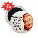 10 pack of 2.25 inch Magnets Hilarious AMAZINGLY ENOUGH I DON'T GIVE A Locker Party favors 26999246