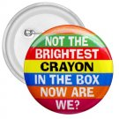 3 inch Hilarious NOT THE BRIGHTEST CRAYON pinback button backpack pin 26999262