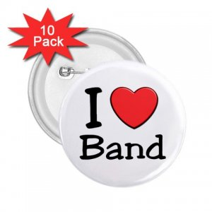 buttons I LOVE BAND 10 pack of 2.25 inch pinback backpack pin 27018073