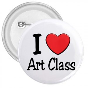 3 inch I LOVE ART CLASS pinback button backpack pin 27018063