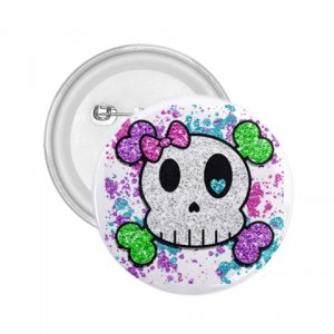 2.25 inch Goth Skull Girl pinback button backpack hat pin 27280544
