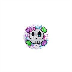 SINGLE Goth Skull Girl Magnet 1 inch button Locker magnets