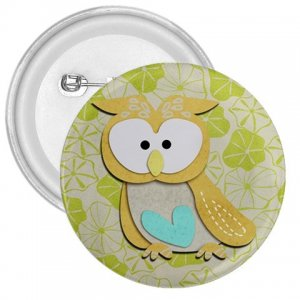 3 inch Retro Owl Design pinback button backpack pin 27280587