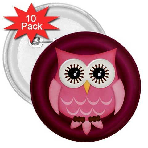 10 pack of 3 inch Pink Owl Design pinback buttons backpack pins 27280601