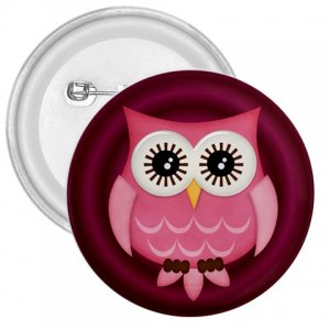 3 inch Pink Owl Design pinback button backpack pin 27280596