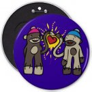 Sock Monkey Love COLOSSAL button pinback 6 inch backpack pin