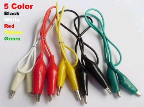 """50pcs Alligator Test Clip line 5 colors 46cm(18"""" )"""