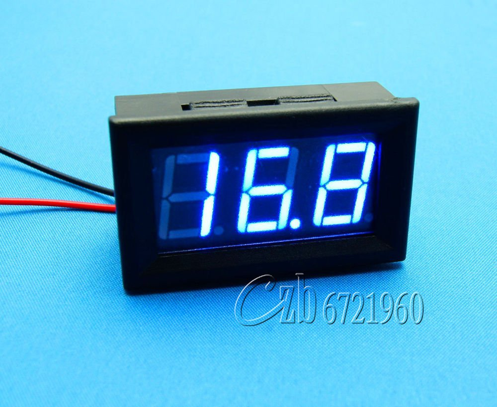 2 pcs Digital Voltmeter DC 3.2V To 30V ,  Blue LED Panel Meter