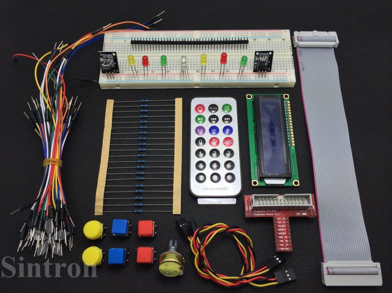 GPIO Starter kit for Raspberry Pi , T-Cobbler 1602 LCD Switch DS18B20 IR remote