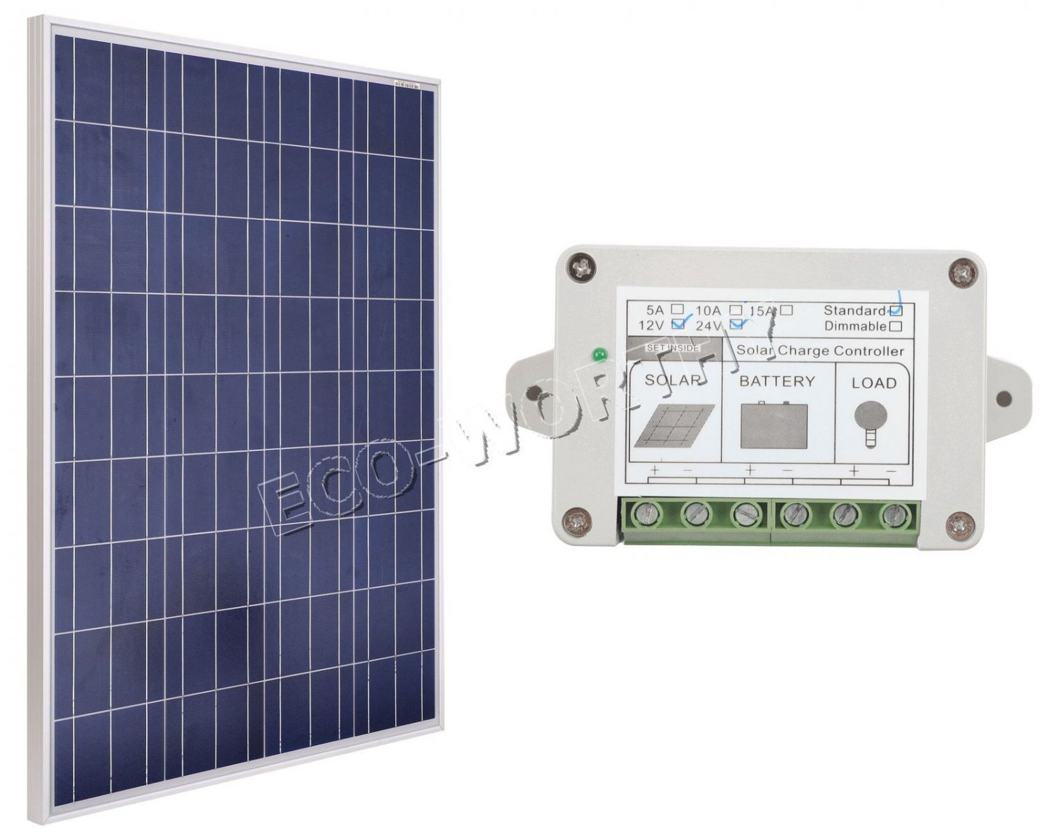100W Solar Panel kit-12V Poly Panel &15A charge controller