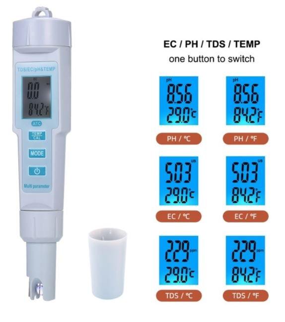 Digital 4 in 1 Water Quality PH/EC/ TDS/ Temperature Meter PH Meter Tester For Water Acquarium LCD B