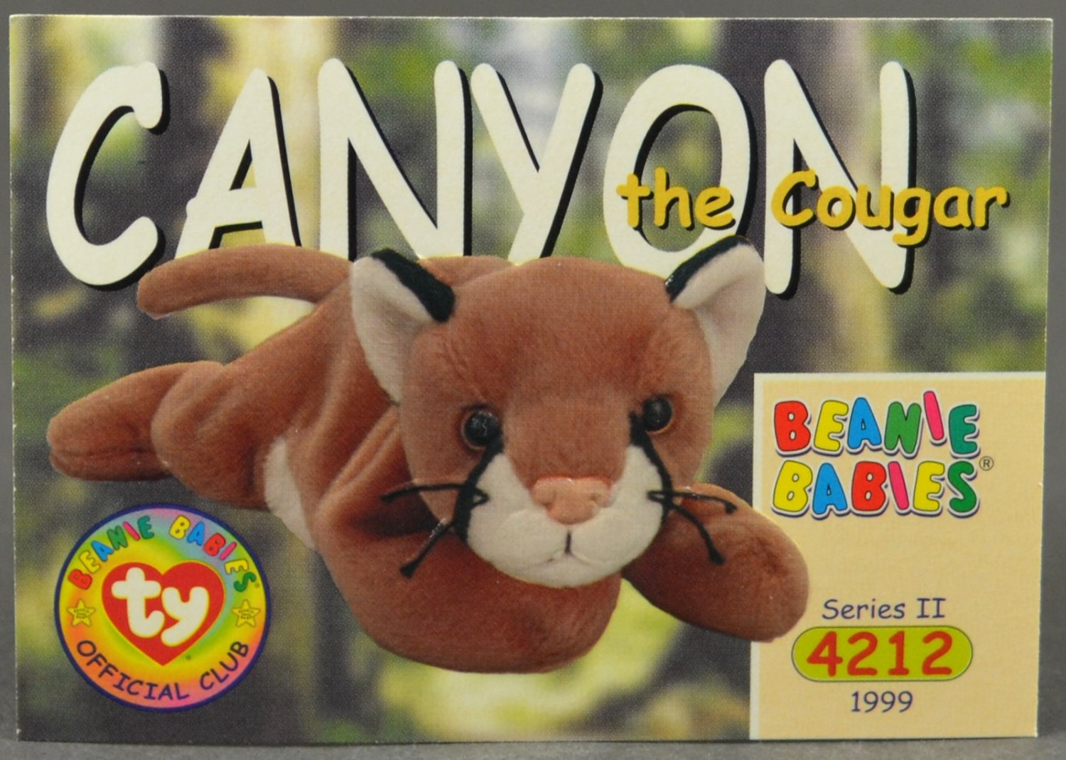 1999 Canyon the Cougar #160 Trading Card Ty Beanie Babies Series II