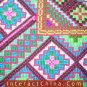 """Hand Cross Stitch Quilt Tapestry Throw 44x44"""" Embroidery Textile Sewing Art #130"""