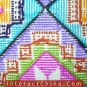 """Hand Cross Stitch Quilt Tapestry Throw 34x62"""" Embroidery Textile Sewing Art #137"""
