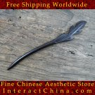 Luxury Solid Ebony Wood Hair Accessories Stick Pin 100% Hand Carved Wood Art #109 - FREE SHIPPING