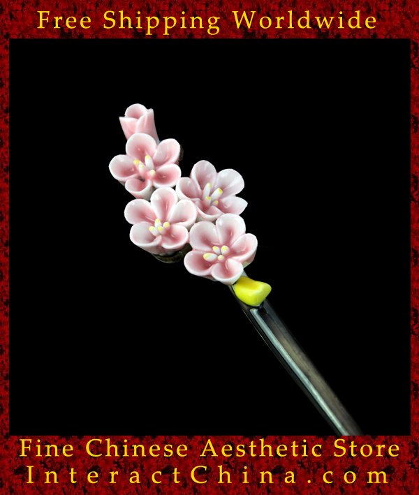 Deluxe Porcelain Hair Accessories Stick Pin 100% Handcrafted Jingdezhen Art #104 - FREE SHIPPING