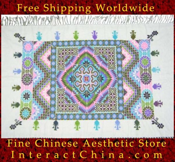 """Hand Cross Stitch Quilt Tapestry Throw 34x60"""" Embroidery Textile Sewing Art #138"""