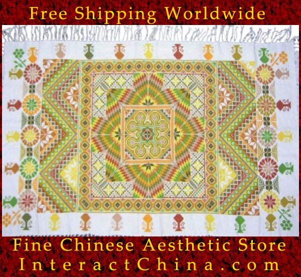 "Hand Cross Stitch Quilt Tapestry Throw 34x58"" Embroidery Textile Sewing Art #136"