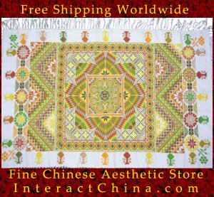 """Hand Cross Stitch Quilt Tapestry Throw 34x58"""" Embroidery Textile Sewing Art #136"""