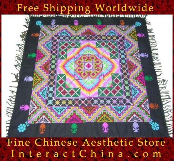 "Hand Cross Stitch Quilt Tapestry Throw 44x44"" Embroidery Textile Sewing Art #131"