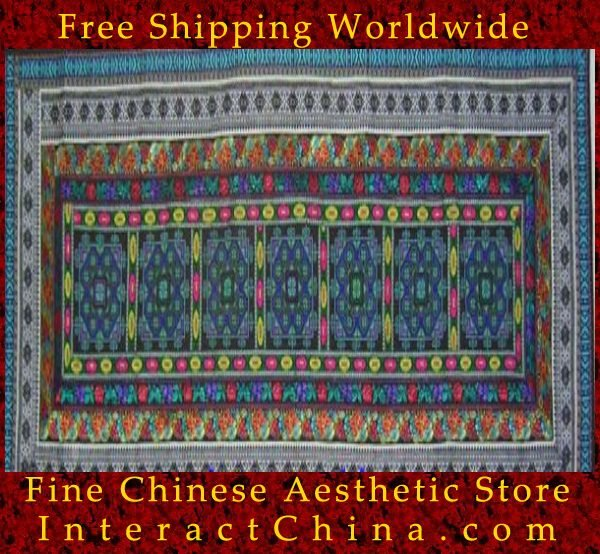 "Hand Cross Stitch Quilt Tapestry Throw 22x60"" Embroidery Textile Sewing Art #127"