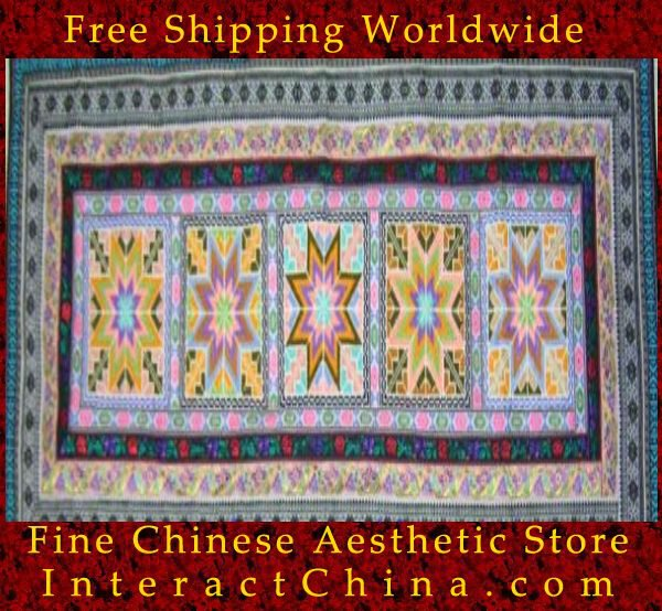 """Hand Cross Stitch Quilt Tapestry Throw 24x60"""" Embroidery Textile Sewing Art #125"""
