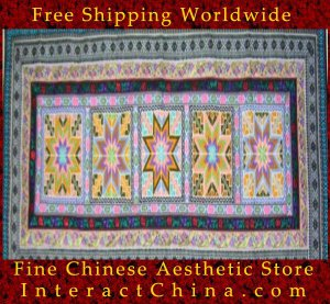 "Hand Cross Stitch Quilt Tapestry Throw 24x60"" Embroidery Textile Sewing Art #125"