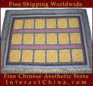 """Hand Cross Stitch Quilt Tapestry Throw 53x74"""" Embroidery Textile Sewing Art #122"""